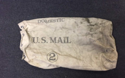 A U.S. Mail postal bag from 1966 that once contained unopened fan mail for Bob Dylan