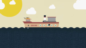 Graphic illustration of a cargo ship sailing on the ocean