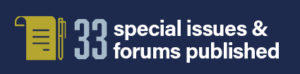 infographic stating 33 special issues and forums published