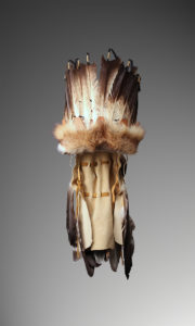 Choctaw headdress made of feathers, leather and other items